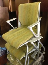 Herman Miller rolling upholstered side chairs